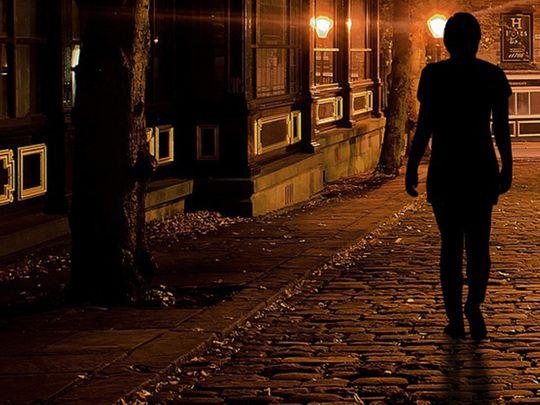 Woman walking alone