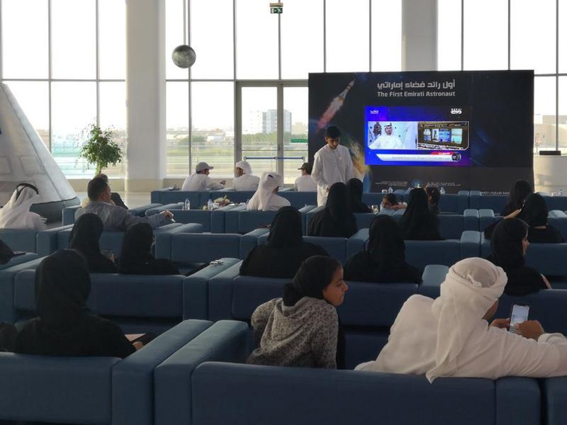 People watching UAE first astronaut Hazza Al Mansouri going to space at Sharjah Academy for Astronomy and Space Sciences Photo Atiq Ur Rehman