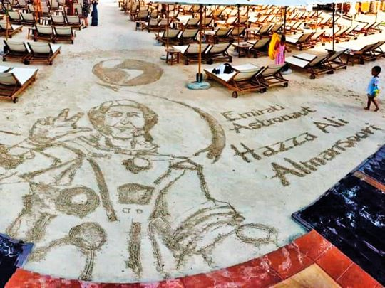 The sand art tribute for Emirati astronaut Hazzaa by Nathaniel Alapide.
