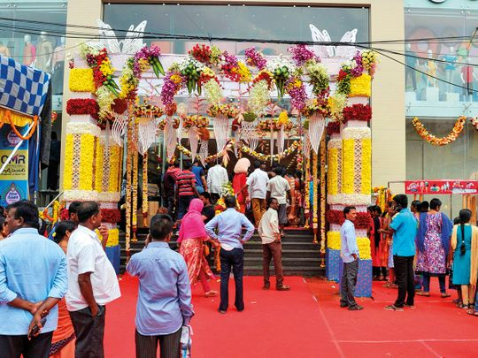A shopping mall decorated for the upcoming Hindu festive season in Hyderabad