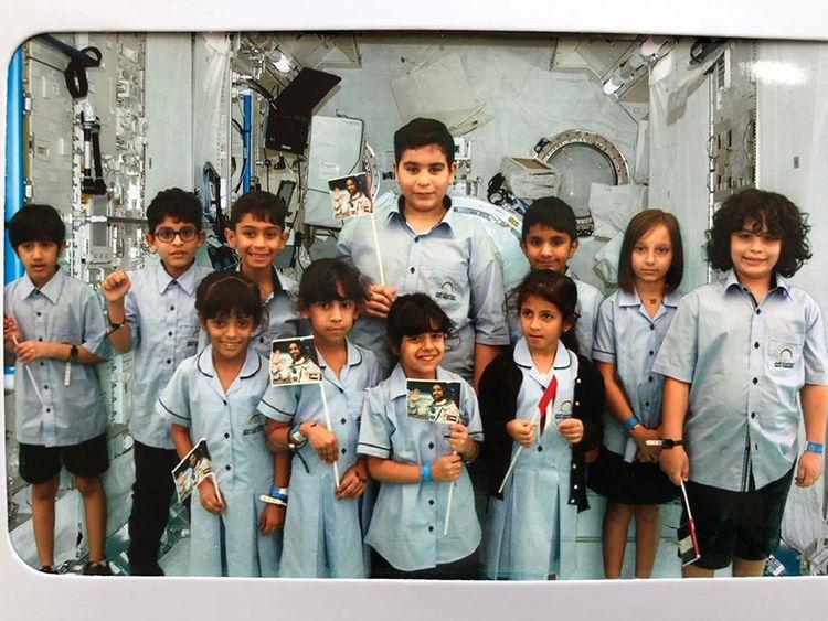 11 emirati students talk to Hazza live