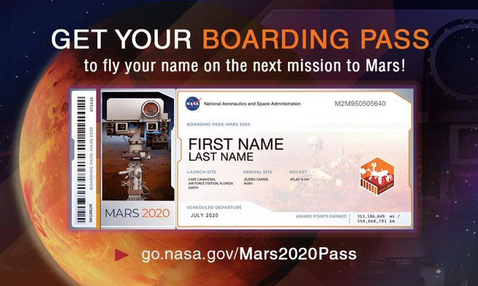 NASA Mars Boarding Pass