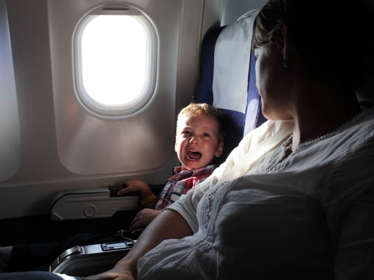 Plane speaking on screaming toddlers