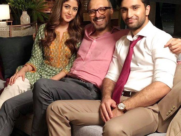 Sajjal Ali and Ahad Raza Mir with director Asim Raza-1569826824128