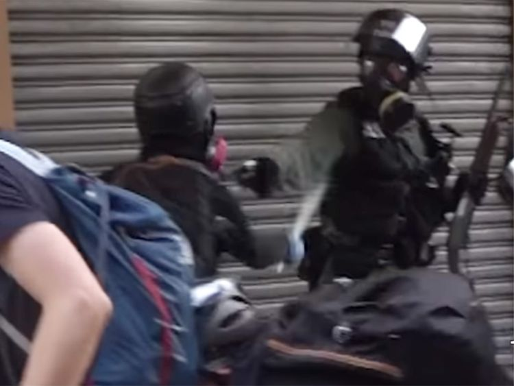 Dramatic footage captures moment when Hong Kong protester shot