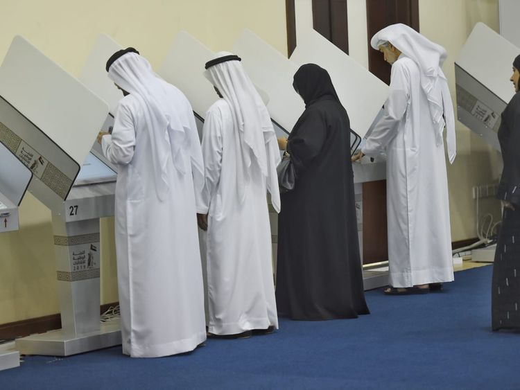 Emiratis cast their vote for Federal National Council (FNC) elections in Sharjah.