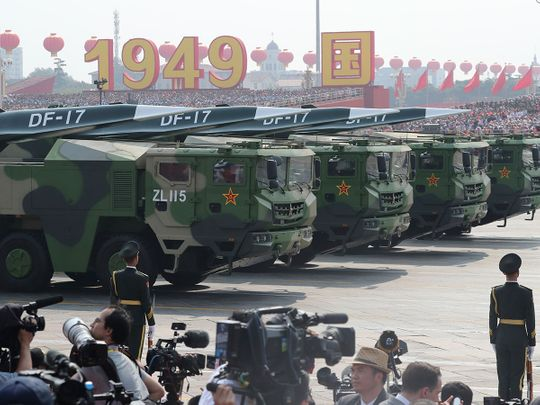 Military vehicles, carrying DF-17