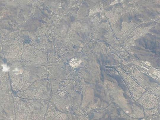 Mecca from space, taken by Hazzaa AlMansoori, UAE's first astronaut