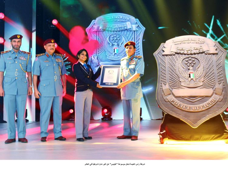 nat 191003 Ras Al Khaimah police enters Guinness World Records for biggest police identification badge-1570115577213