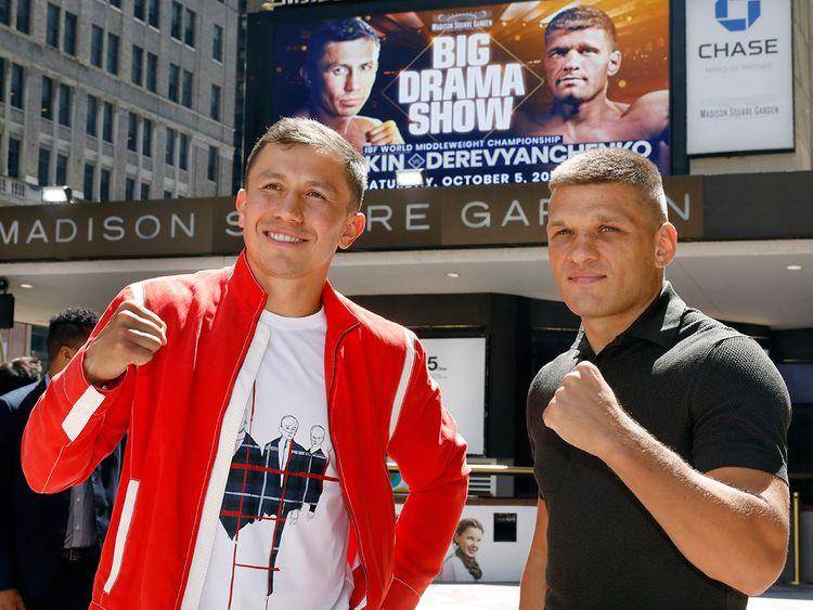 Gennady Golovkin (left) with Sergiy Derevyanchenko