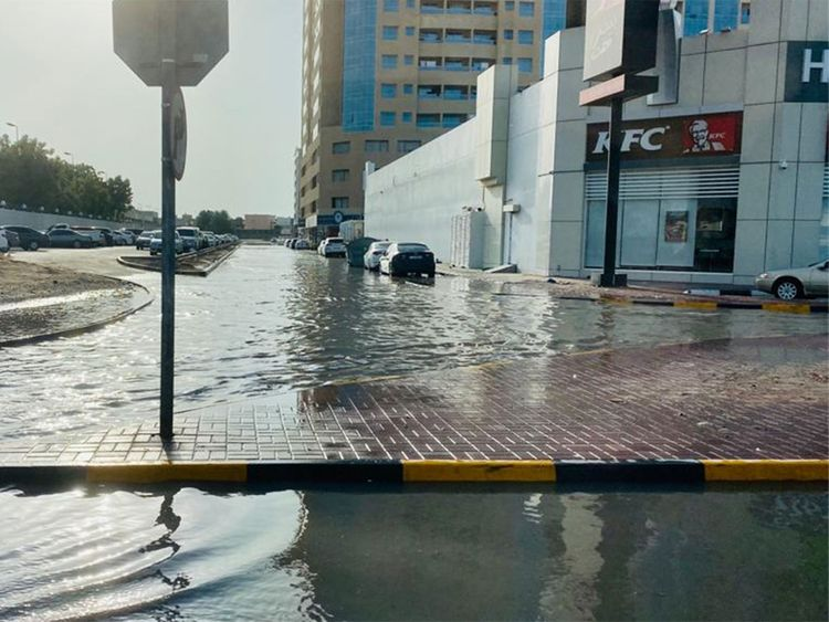 A water-logged street in Ajman 00010