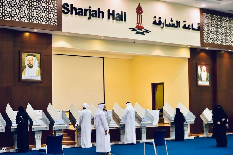 People cast their votes at the Sharjah voting centre