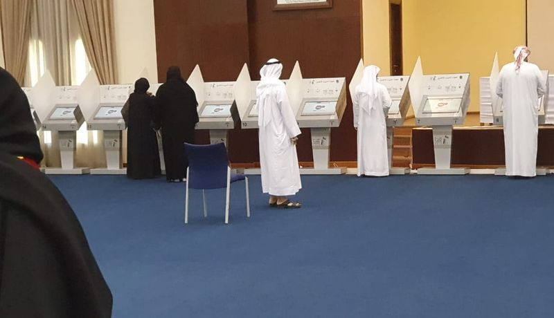 Voters cast their ballots in Sharjah on Saturday 32323