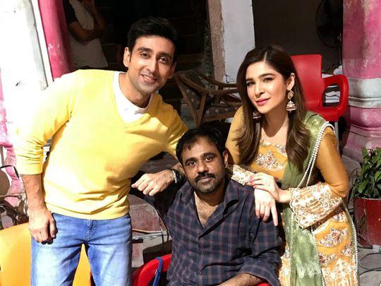 Sami Khan, Ayesha Omar and choreographer Pappoo Samrat at the shoot of KAAF KANGANA-1570435959043