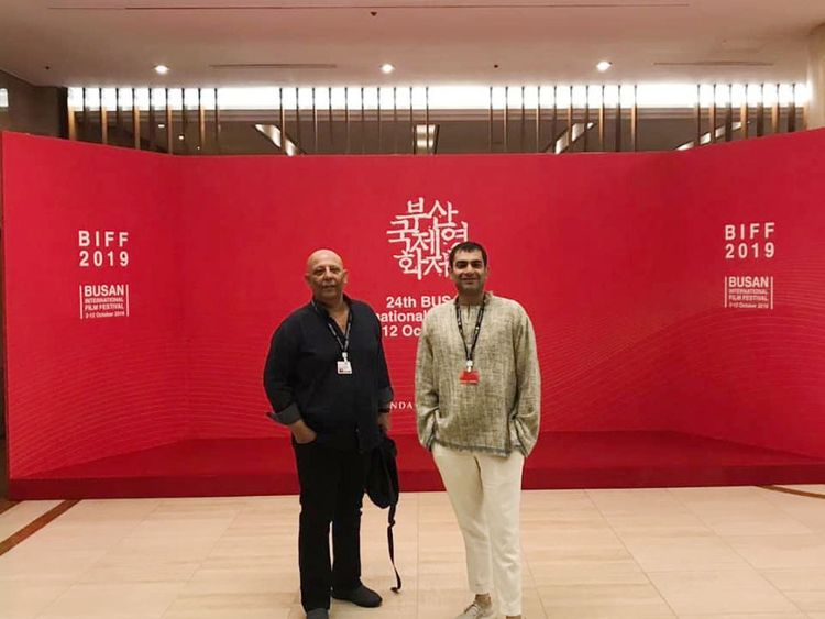 Sarmad Khoosat (R) with his film's lead actor Arif Hasan at the 24th Busan International Film Festival-1570435895492
