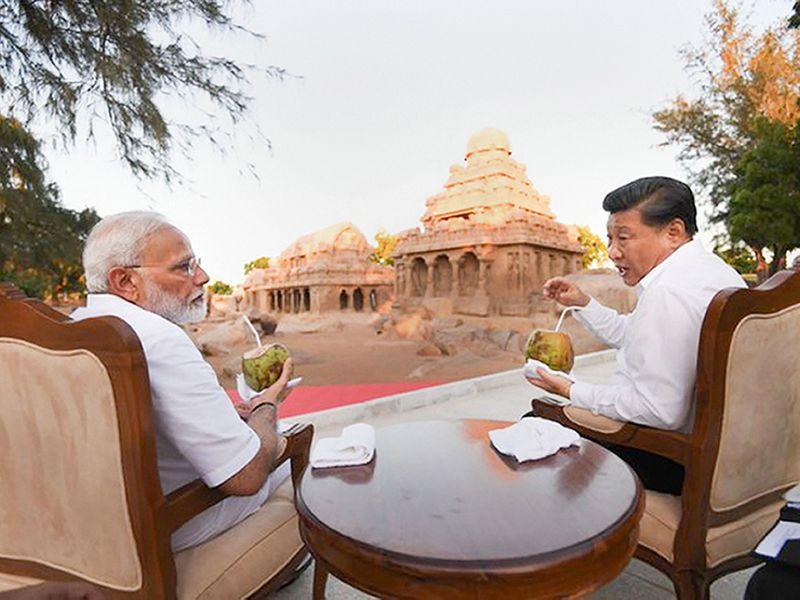 Narendra Modi with Xi Jinping