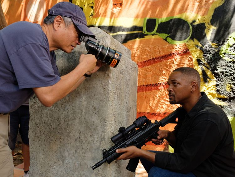 Ang Lee and Will Smith on set-1570865507117