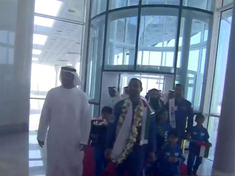 Hazzaa arrives at Al Bateen Executive Airport in Abu Dhabi