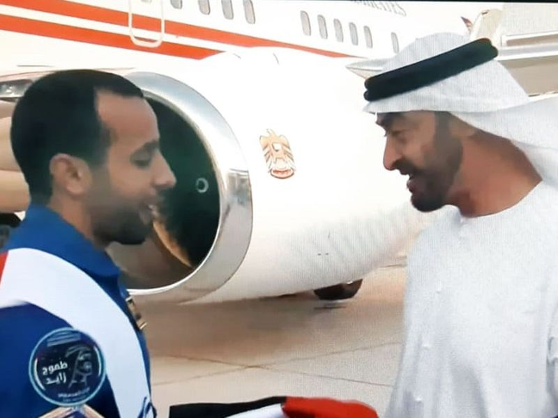 Hazzaa was greeted by His Highness Sheikh Mohammed Bin Zayed Al Nahyan.