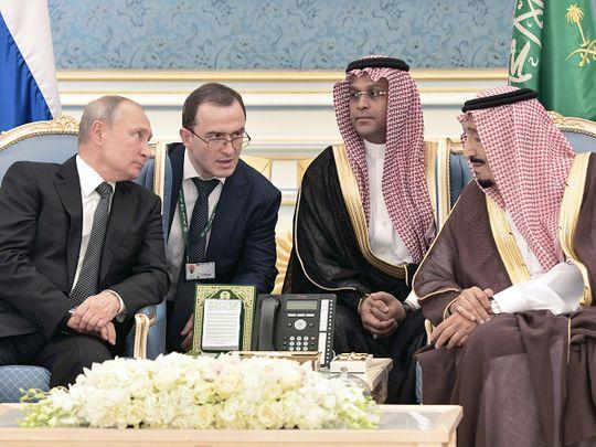 Russian President Vladimir Putin and Saudi Arabia's King Salman