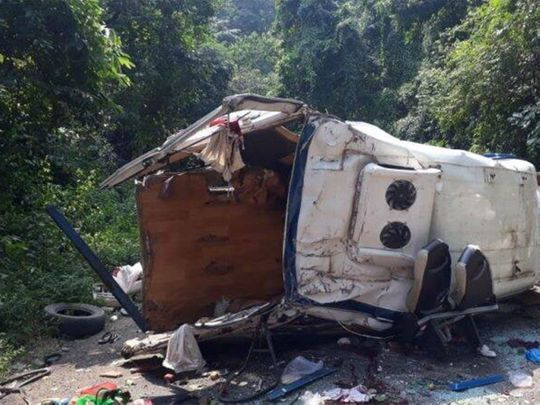 India: Eight killed after bus falls into gorge in Andhra