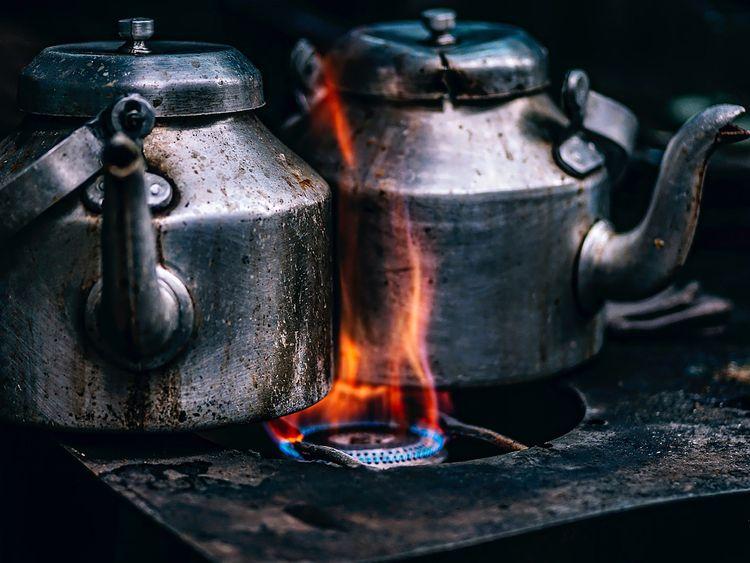 Boiling kettle of tea