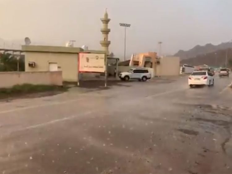Hail and rain reported in parts of the UAE on Saturday.