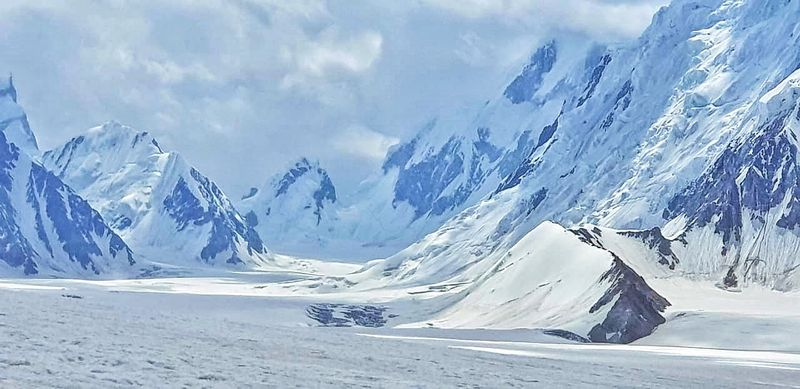 The route to Snow Lake base camp located in a high-altitude glacial basin in Gilgit-Baltistan