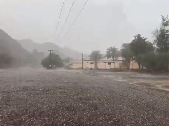 Rain and hail in Ras Al Khaimah