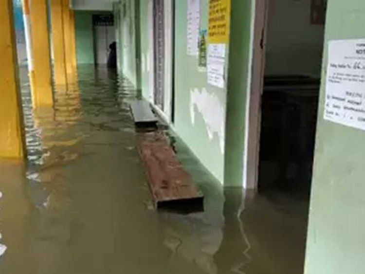 A waterlogged polling station in Kerala