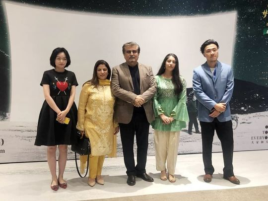 Jamal Shah with the director and cast members of BA TIE GIRL-1571638153066