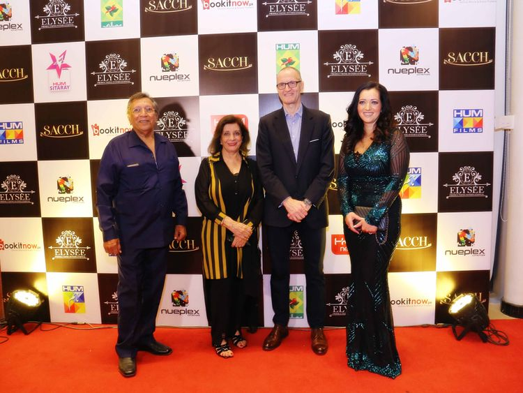 Talat Hussain, Sultana Siddiqui, British Deputy High Commissioner Mike Nithavrianakis and Tasmina Sheikh at the trailer launch of SACCH-1571637911828