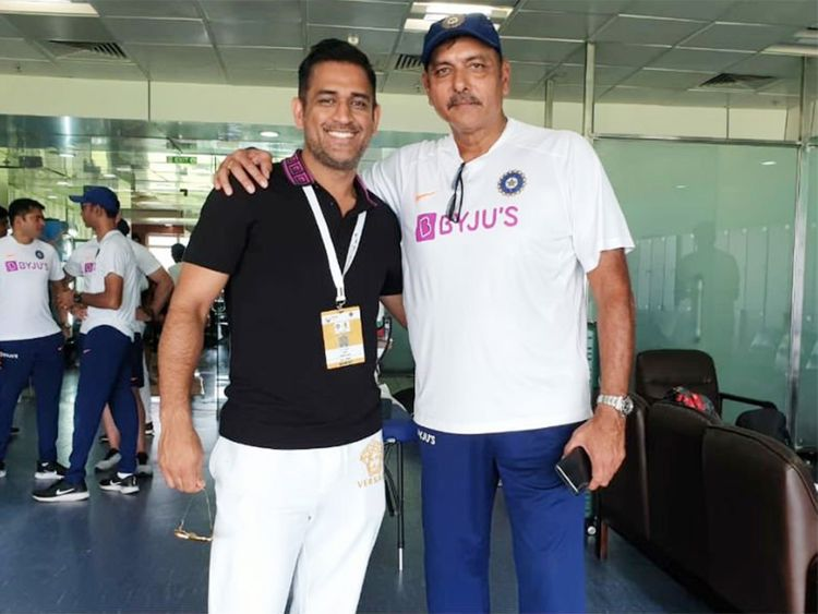 Dhoni with coach Ravi Shastri