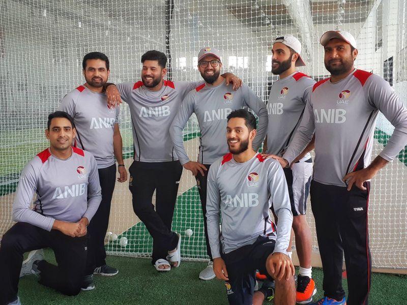 Ghulham Shabeer, on far right, with UAE teammates