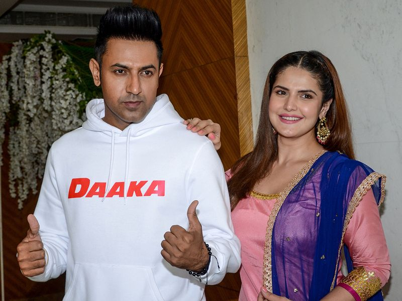 Zareen Khan (R) and actor Gippy Grewal