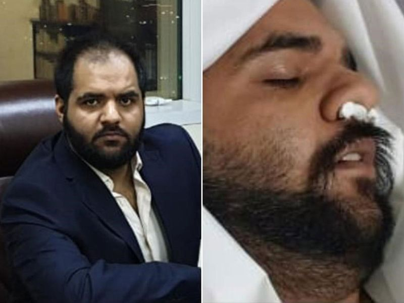 Hayyab Arif sitting in his Ajman office, left, and him faking his death.