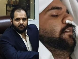 ayyab Arif sitting in his Ajman Freezone, left, and him faking his death