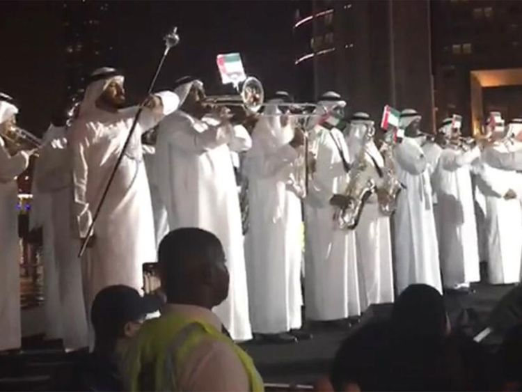 Members of the Dubai Police band India's National Anthem