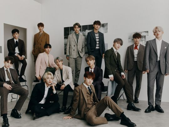 SEVENTEEN_PHOTO - Clockwise from left - Woozi, Wonwoo, DK, Seungkwan, The 8, Jun, Joshua, Mingyu, Dino, Vernon, S.coups Hoshi, and Jeonghan.-1572096613545