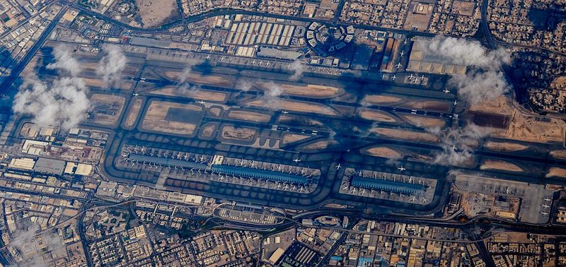 An aerial view of Dubai International Airport (DXB).