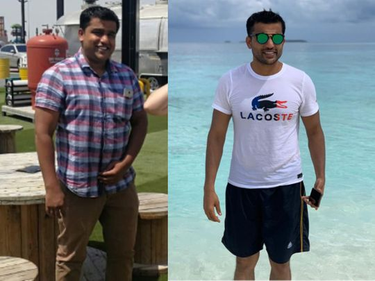 Abdul Salu before (left) and after
