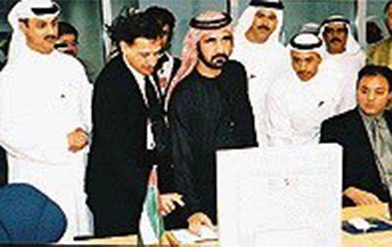 Sheikh Mohammed Bin Rashid during the launch of the Dubai Internet City.