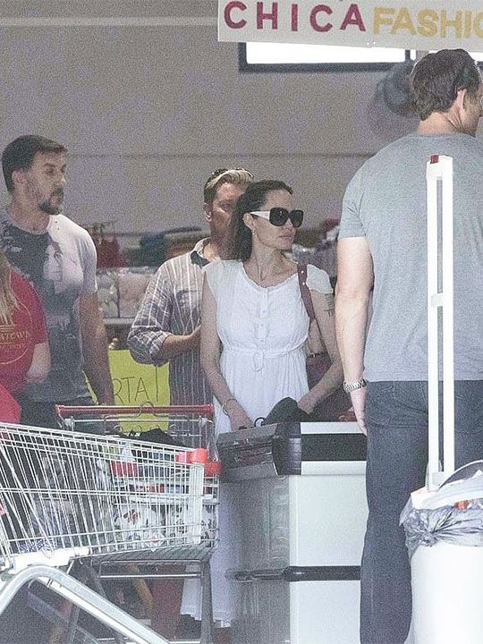 Angelina Jolie was spotted pushing round a shopping trolley packed to the brim