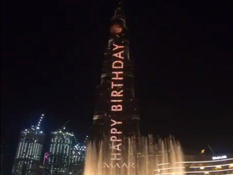 Burj Khalifa says Happy Birthday