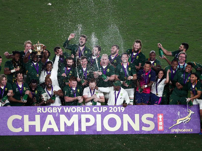 South Africa's players celebrate winning the Japan 2019 Rugby World Cup final match between England and South Africa at the International Stadium Yokohama in Yokohama