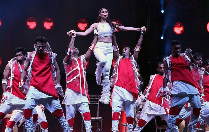 Bollywood actress Daisy Shah performs during the concert at L.B Stadium in Hyderabad