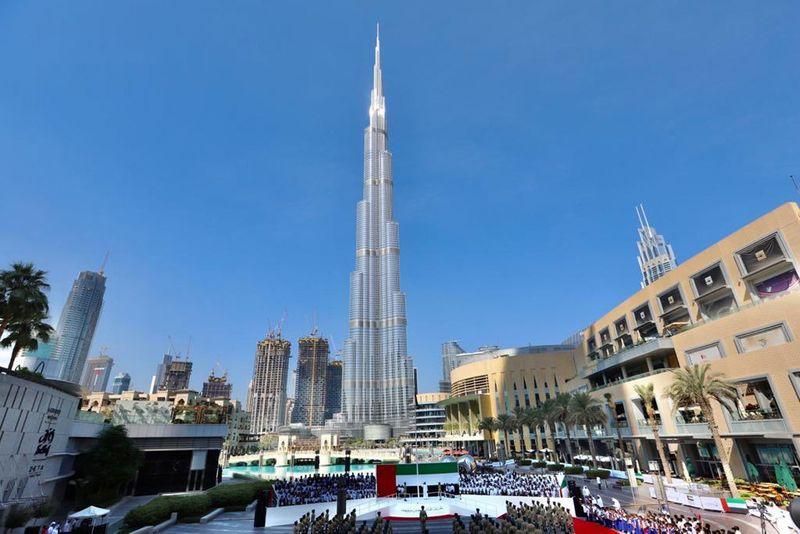 Downtown Dubai flag day