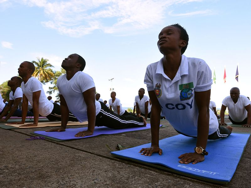Soldiers with theÊRepublic of Sierra Leone Armed Forces (RSLAF) participate in a weeklyÊyoga training