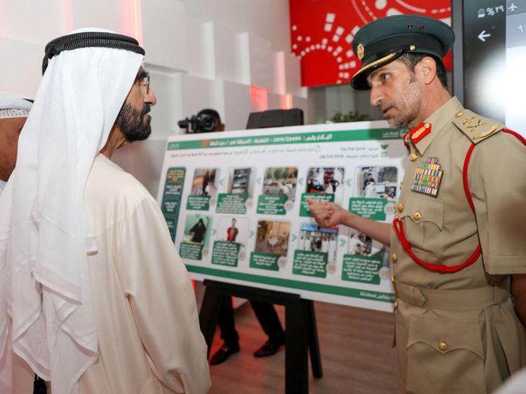 Sheikh Mohammed at Dubai smart police station
