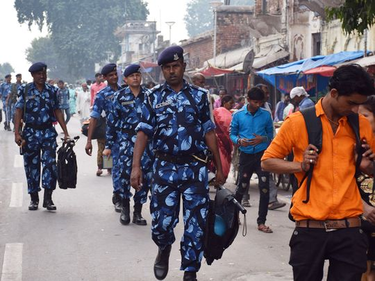 Rapid Action Force (RPF) and Uttar Pradesh Police personnel